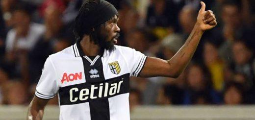 Parma's Ivorian forward Gervinho celebrates after scoring a goal during the Italian Serie A football match Parma vs Juventus on September 1, 2018 at Ennio Tardini stadium in Parma.